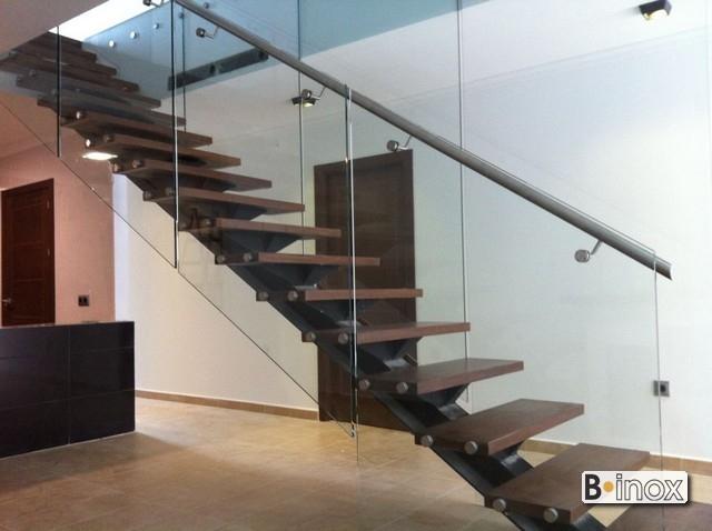Pasamanos escalera interior barandilla de vidrio con - Barandillas de madera para interior ...